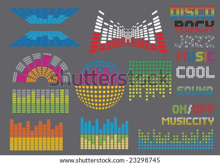Music set 8 (visit our portfolio for more design elements and music vectors) - stock vector