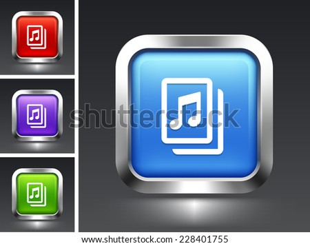 Music Sheet on Blue Square Button