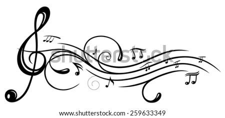 Music sheet with clef and Music notes