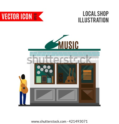 Music shop icon isolated on white background. Vector illustration for musical design. Retail store with people. Instruments sale business. Guitar for guitarist. Simple leisure sign Cartoon flat market - stock vector