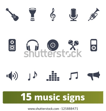 Music signs: vector set of icons - stock vector
