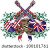 music skull and flag - stock vector