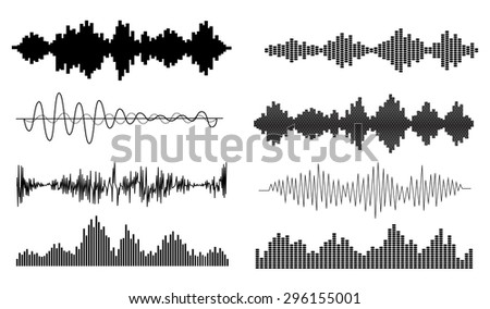 Music, sound waves set. Musical audio equalizer, vector illustration - stock vector
