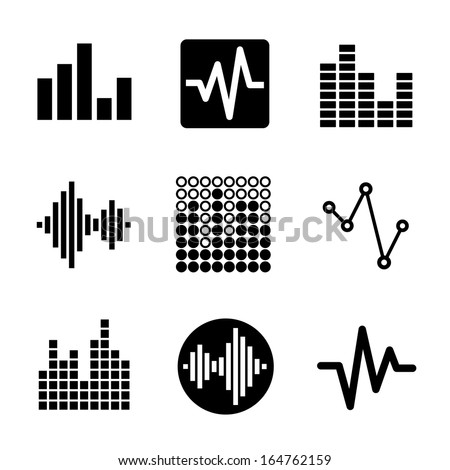 Music soundwave icons set - stock vector