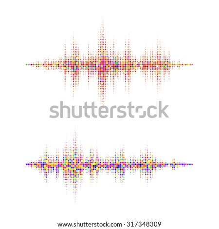 Music square waveform background. Colorful halftone vector sound waves. You can use in club, radio, pub, party, DJ, concerts, recitals or the audio technology advertising background.  - stock vector