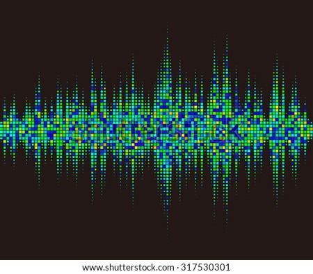 Music square waveform background. green halftone vector sound waves. You can use in club, radio, pub, party, DJ, concerts, recitals or the audio technology advertising background.