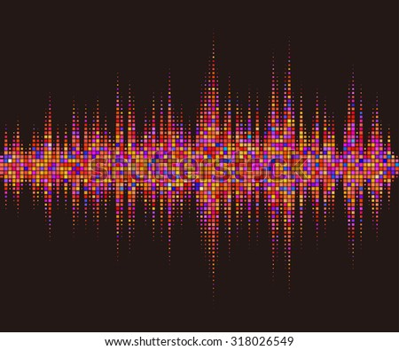 Music square waveform background. Red halftone vector sound waves. You can use in club, radio, night pub, party, DJ, concerts, recitals or the audio technology advertising background.