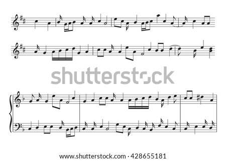 music staff with music notes - vector - stock vector