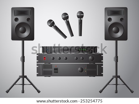 Music station with microphone amplifier DVD speaker and stand - stock vector