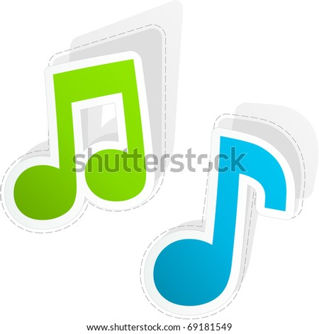 Music sticker set. - stock vector
