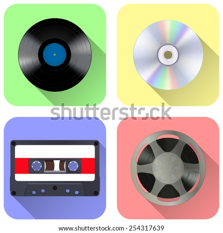 Music storage device: tape reel, vinyl record, compact tape cassette and compact disc - vector drawing, media web icon. - stock vector