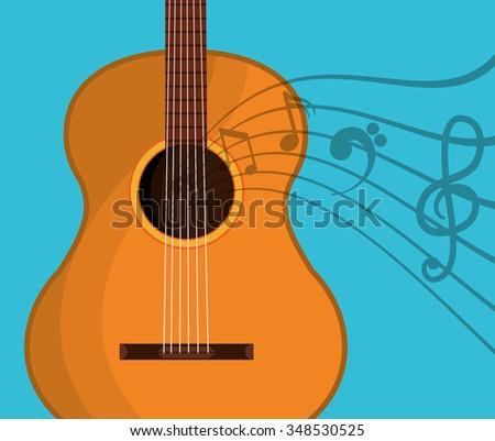 Music string instrument graphic design, vector illustration - stock vector