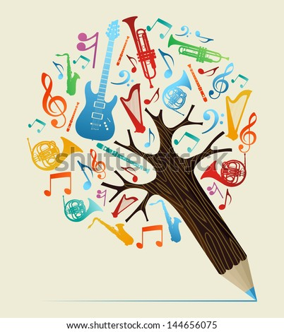 Music study design pencil tree. Vector illustration layered for easy manipulation and custom coloring. - stock vector