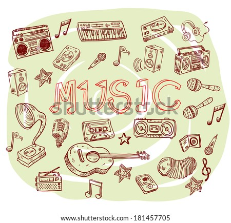 Music symbols - doodles collection - stock vector