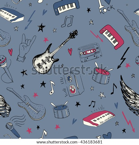 Music symbols. Seamless pattern. rock music background texture, hand drawn doodle style. - stock vector