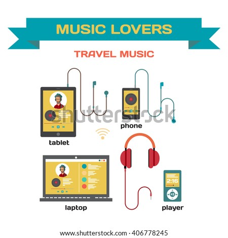 Music system for music listening with gadgets vector flat design. Use of traveling laptop, smartphone, tablet and player with headphones. Music for travel and for music lovers - stock vector