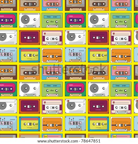 music tape seamless pattern - stock vector