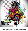 music theme background with musical note,vector Illustration - stock photo