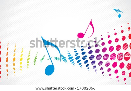 Music theme multi color halftone with music note