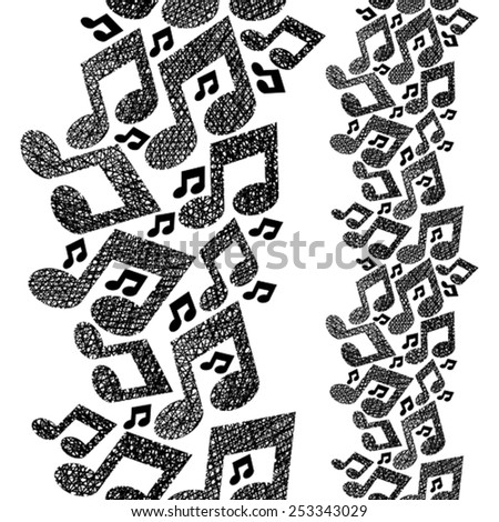 Music theme seamless pattern with notes, vertical composition, repeating vector background with hand drawn lines textures. - stock vector