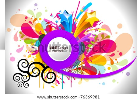 Music theme star background with circles and splash, Editable Illustration - stock vector