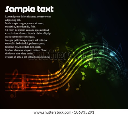 Music theme with many tones and lights - stock vector