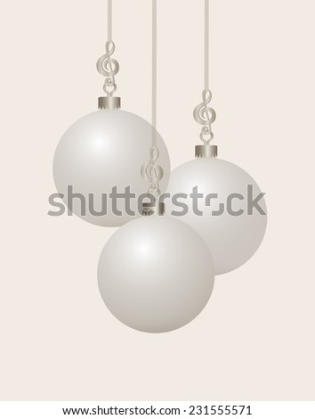 Music themed Three Silver Treble Clef Christmas Ornament Hooks and Ribbon with White Christmas  Balls - stock vector