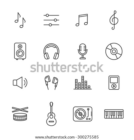 Music thin line icons - stock vector