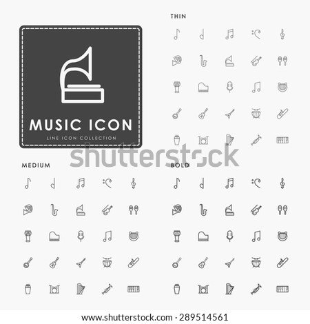 music thin, medium and bold line icons - stock vector