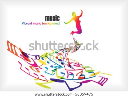 music tones with dancing people - stock vector