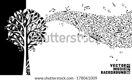 Music tree background. Music notes and treble clefs on tree. Music wave background. Black and white vector illustration. - stock vector
