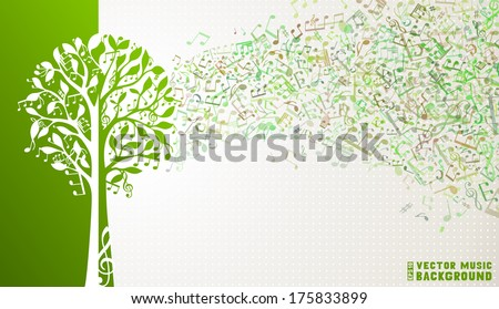 Music tree background. Music notes and treble clefs on tree. Music wave background. Green and white vector illustration.  - stock vector