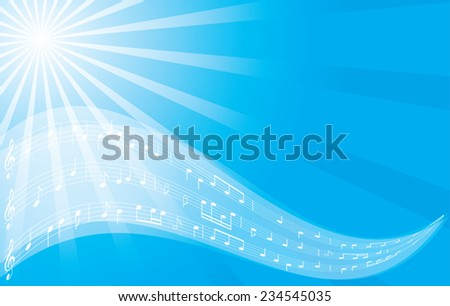 music vector background - blue flyer - eps 10 - stock vector