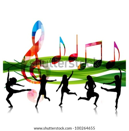music vector background with people silhouettes - stock vector