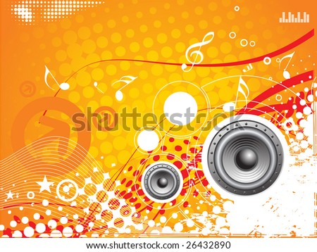 music vector composition wih grunge halftone background - stock vector