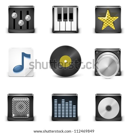 music vector icons - stock vector