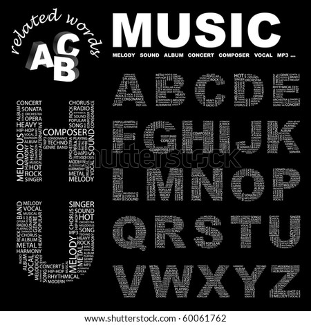 MUSIC. Vector letter collection. Illustration with different association terms. - stock vector