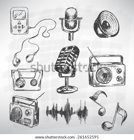 Music vector set. Sketch converted to vectors. - stock vector