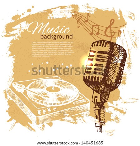 Music vintage background. Hand drawn illustration. Splash blob retro design with microphone  - stock vector