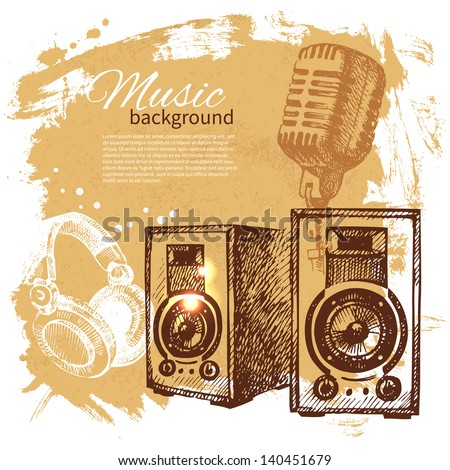 Music vintage background. Hand drawn illustration. Splash blob retro design with speakers  - stock vector
