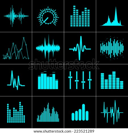 music wave icons set in vector format - stock vector