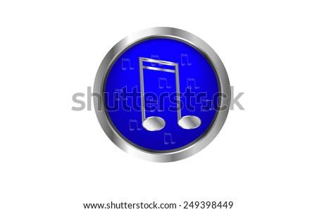 Music web button - stock vector