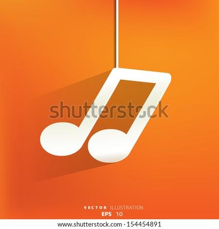 Music web icon,flat design - stock vector