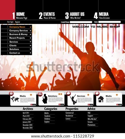 Music Website Template - stock vector