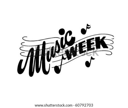 Music Week - Ad Header - Retro Clip Art - stock vector