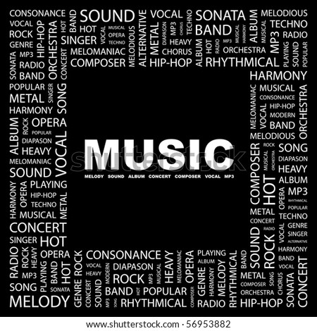 MUSIC. Word collage on black background. Vector illustration. - stock vector