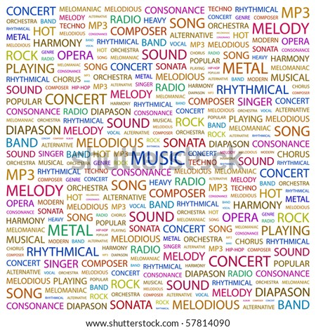 MUSIC. Word collage on white background. Illustration with different association terms. - stock vector