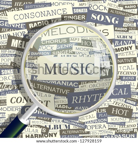 MUSIC. Word collage. Vector illustration.