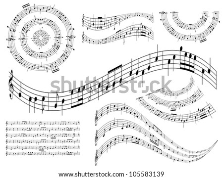 musical abstract design elements - vector set - stock vector