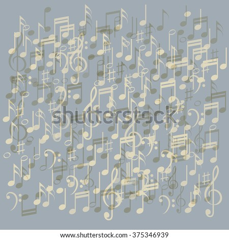 Musical abstraction - vector colorful notes - stock vector